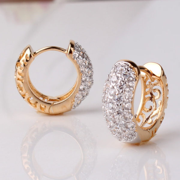Round Crystal Earrings For Women Gold Color Hoop Cz Stone Cubic Zirconia Earring Vintage