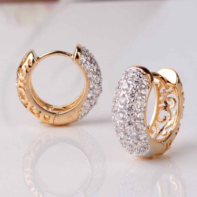 Round Crystal Earrings For Women Gold Color Hoop Cz Stone Cubic Zirconia Earring Vintage Ezdeals Org One Place All Deals And Codes