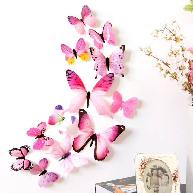 Decal Wall Stickers Home Decorations 3D Butterfly Rainbow PVC ...